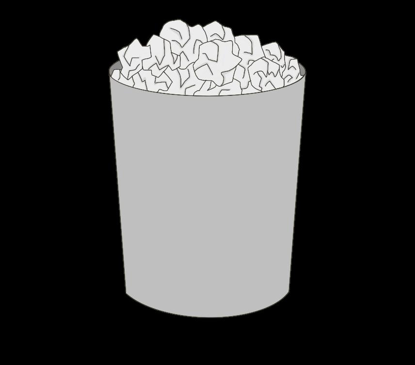 ゴミが溢れるゴミ箱(丸型)のイラスト
