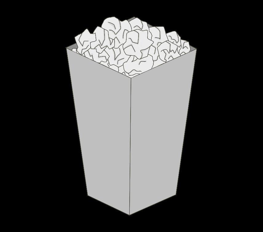 ゴミが溢れるゴミ箱(四角)のイラスト