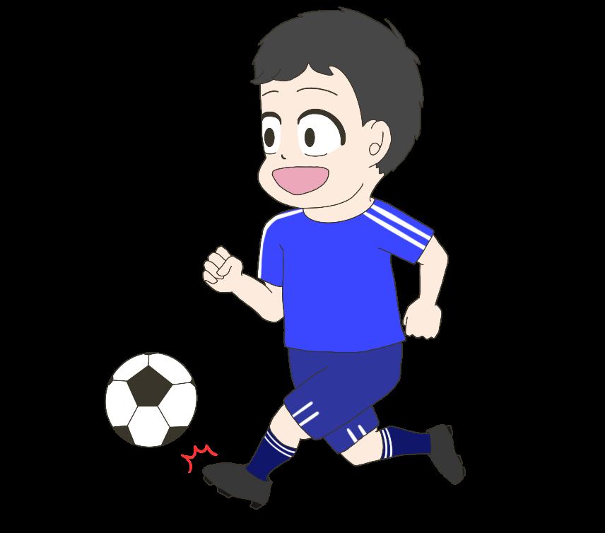 サッカーをする子供(男の子)のイラスト