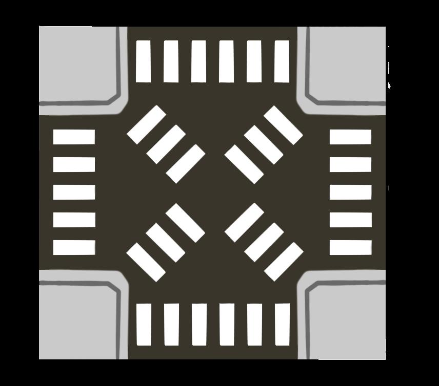 スクランブル交差点のイラスト