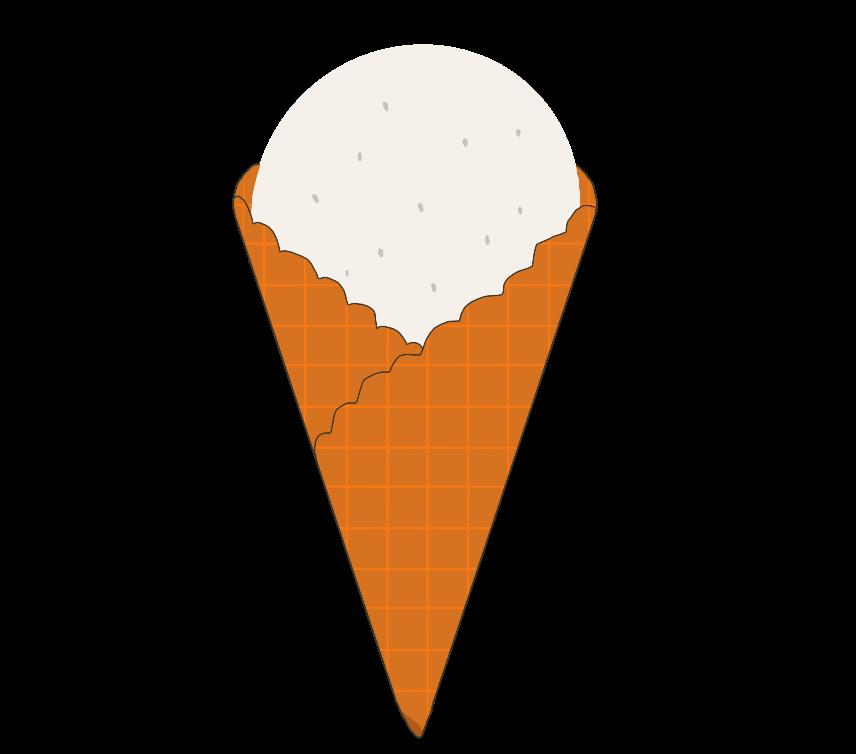ワッフルコーンのアイスクリームのイラスト
