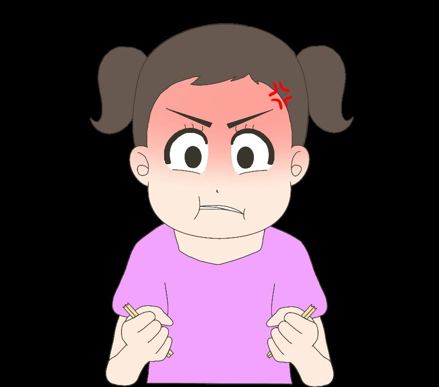 怒って割り箸を割る子供(女の子)のイラスト