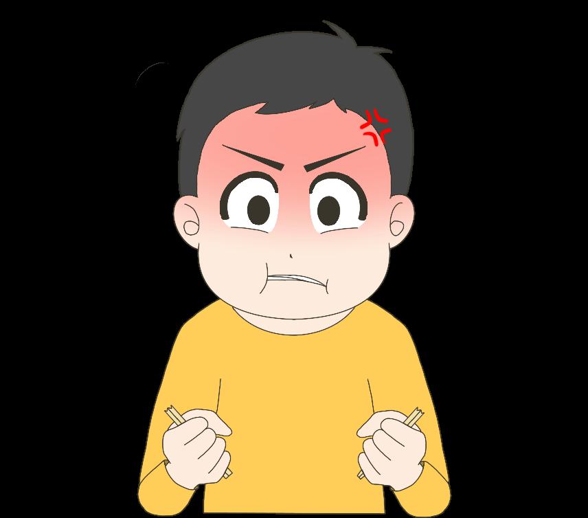 怒って割り箸を割る子供(男の子)のイラスト