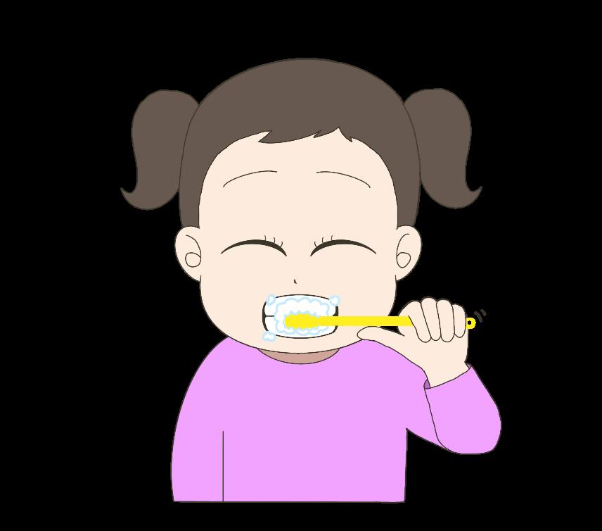 歯磨きをする子供(女の子)のイラスト