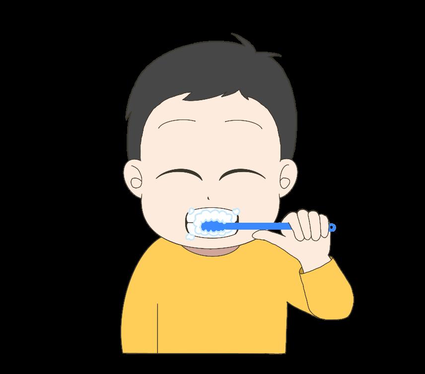 歯磨きをする子供(男の子)のイラスト