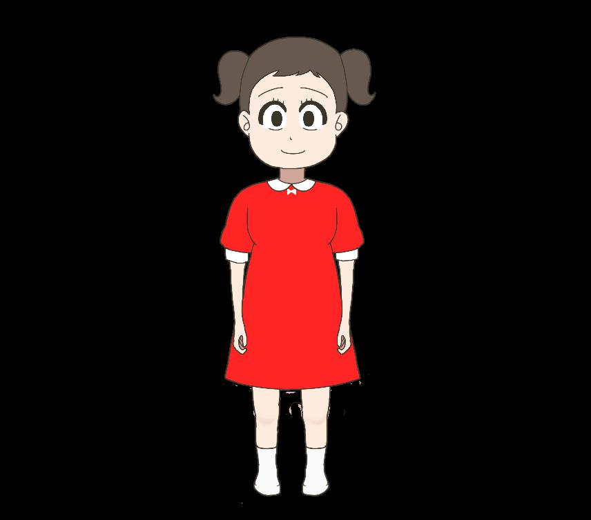 赤いワンピースを着た子供(女の子)のイラスト