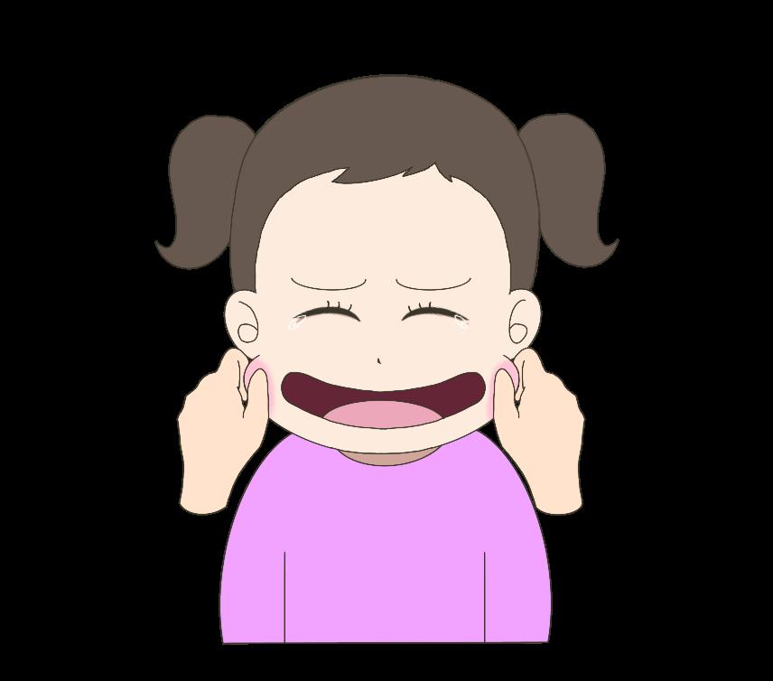 頬を摘まれる子供(女の子)のイラスト