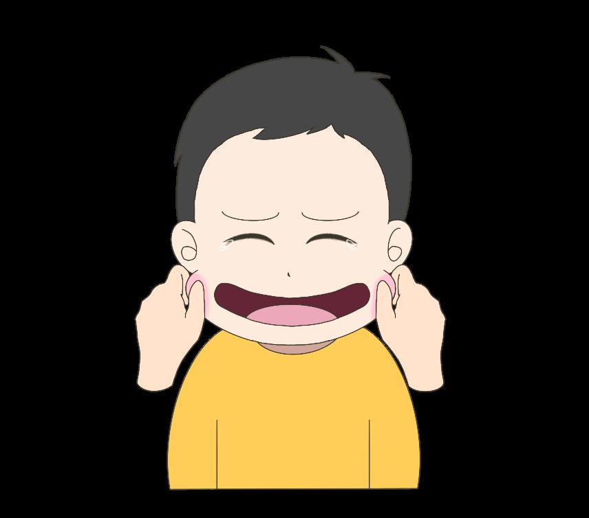 頬を摘まれる子供(男の子)のイラスト