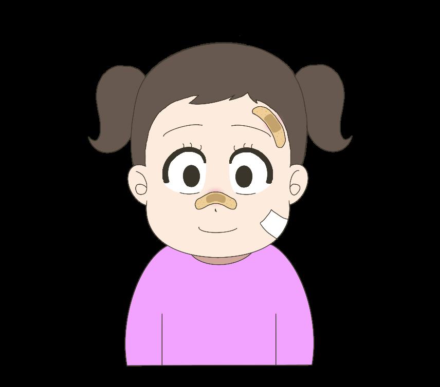 顔を怪我した子供(女の子)のイラスト