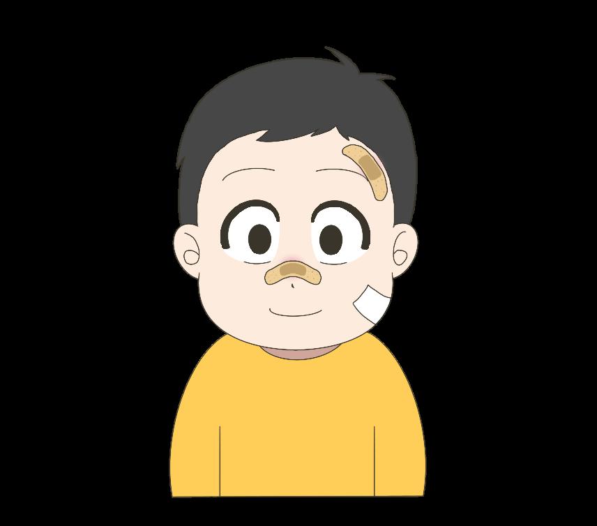 顔を怪我した子供(男の子)のイラスト