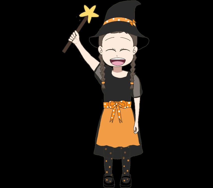 魔法使いのコスプレをする子供(女の子)のイラスト