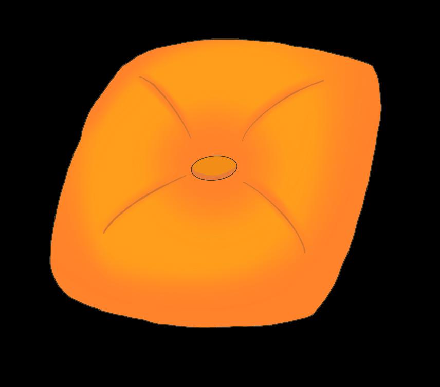 オレンジ色のクッションのイラスト