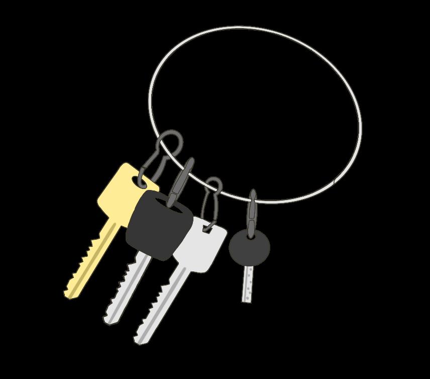 キーホルダーにまとめられた鍵のイラスト