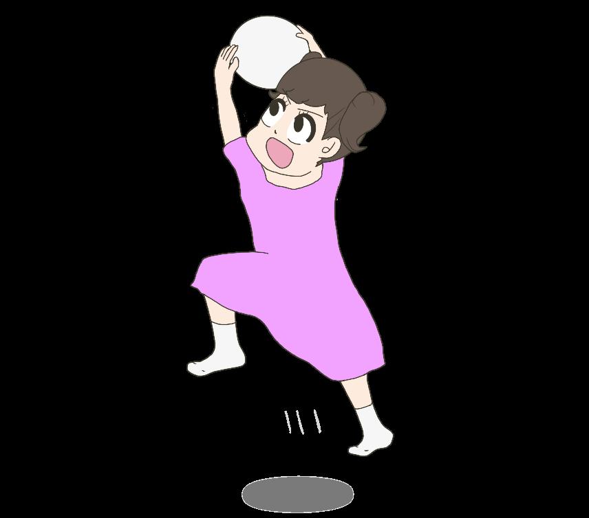 ボールをキャッチする子供(女の子)のイラスト
