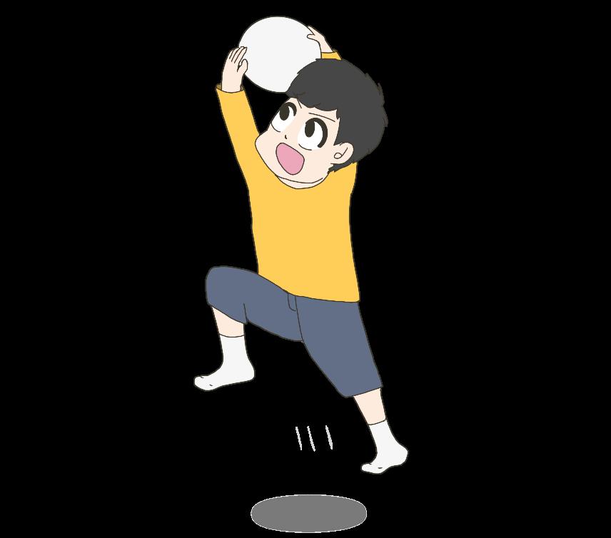 ボールをキャッチする子供(男の子)のイラスト
