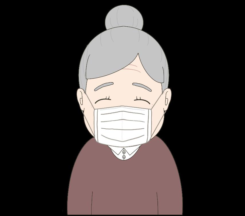 マスクをつけた女性(おばあさん)のイラスト