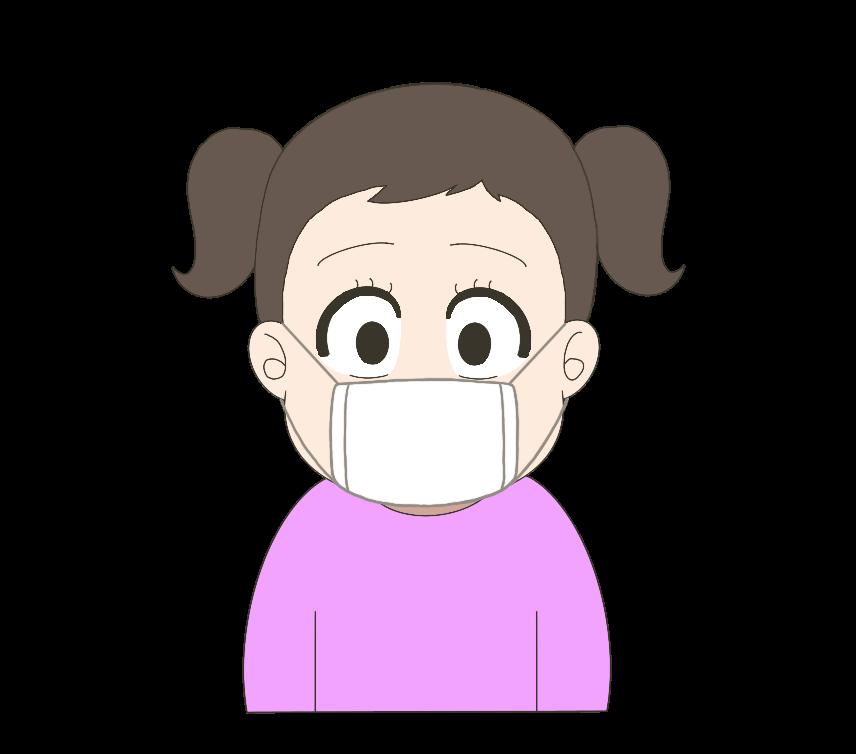 マスクをつけた子供(女の子)のイラスト