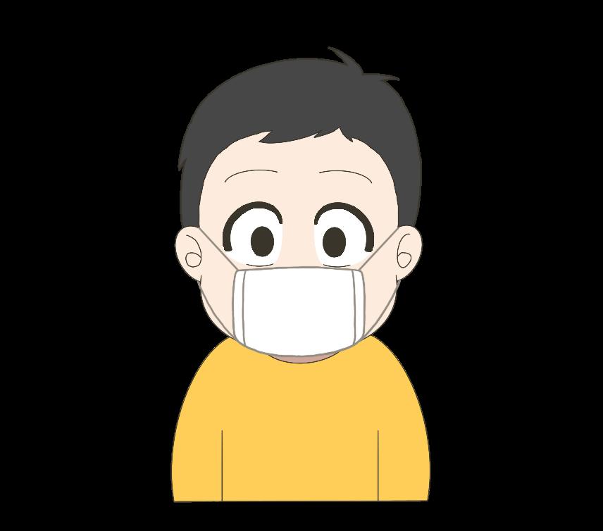 マスクをつけた子供(男の子)のイラスト