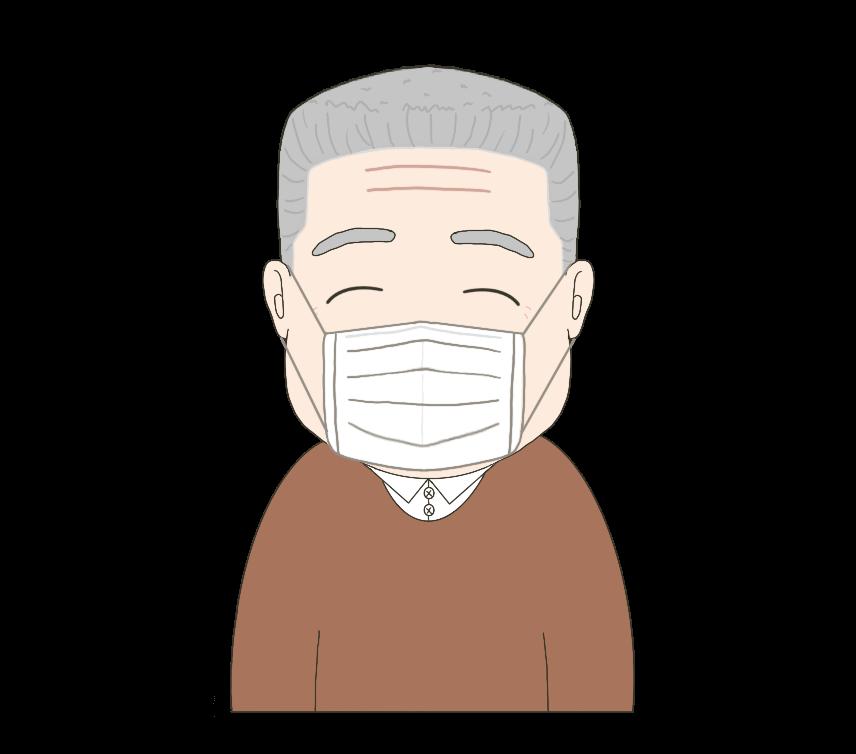 マスクをつけた男性(おじいさん)のイラスト