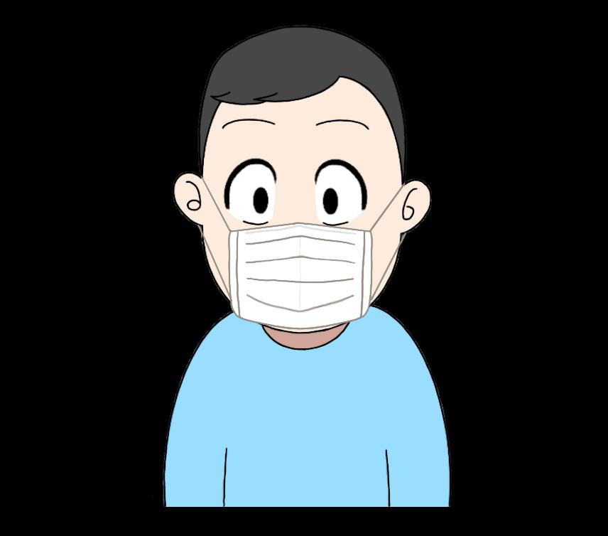 マスクをつけた男性のイラスト