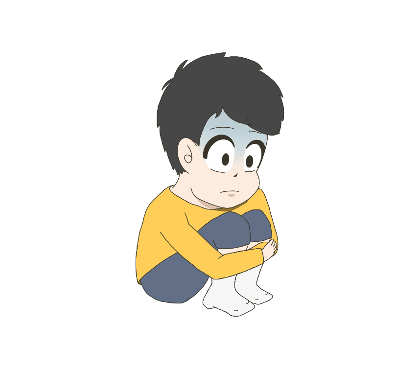 心を閉ざした子供(男の子)のイラスト