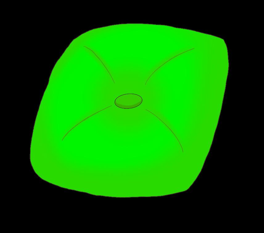 緑色のクッションのイラスト