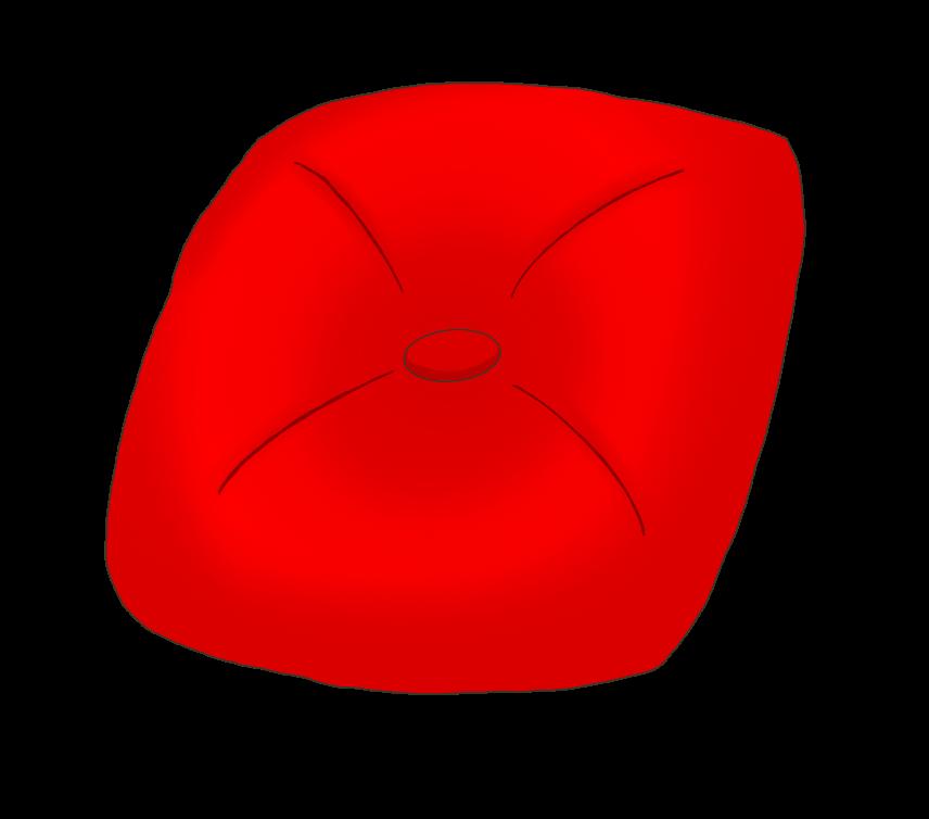 赤色クッションのイラスト
