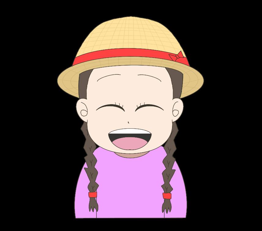 麦わら帽子を被った子供(女の子)のイラスト