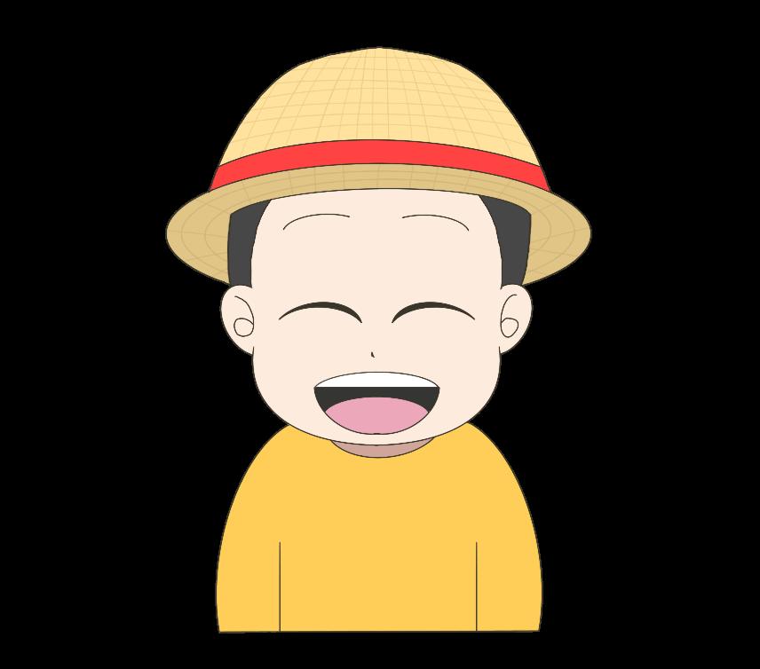 麦わら帽子を被った子供(男の子)のイラスト