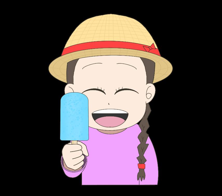 アイスキャンディーを持つ子供(女の子)のイラスト