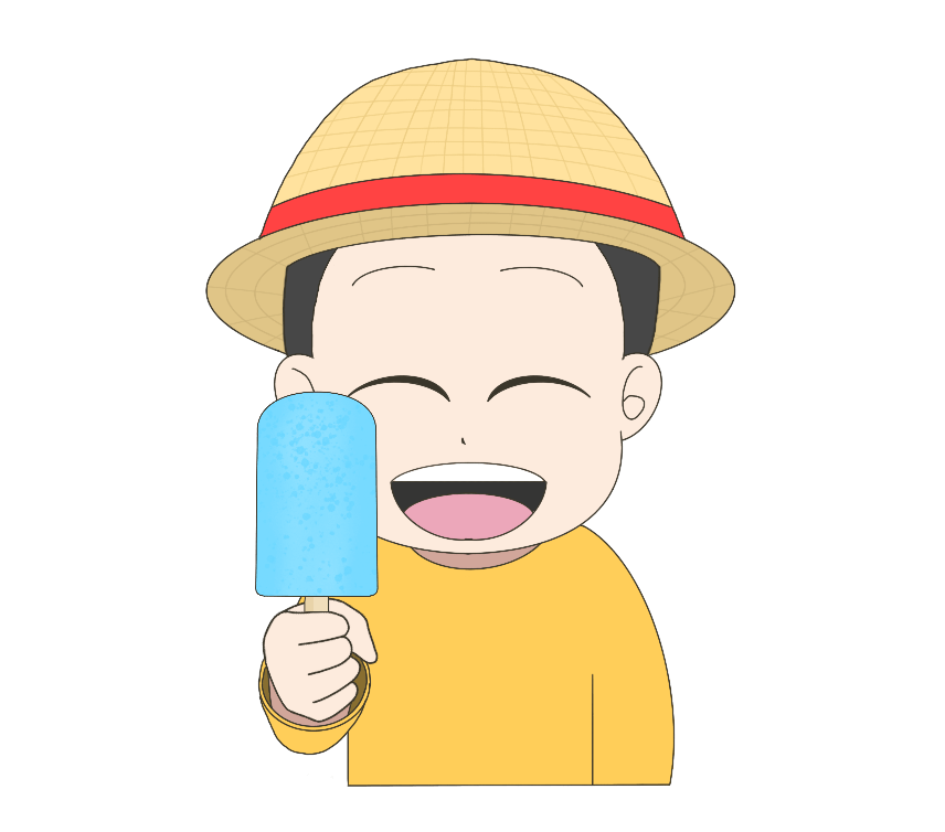 アイスキャンディーを持つ子供(男の子)のイラスト