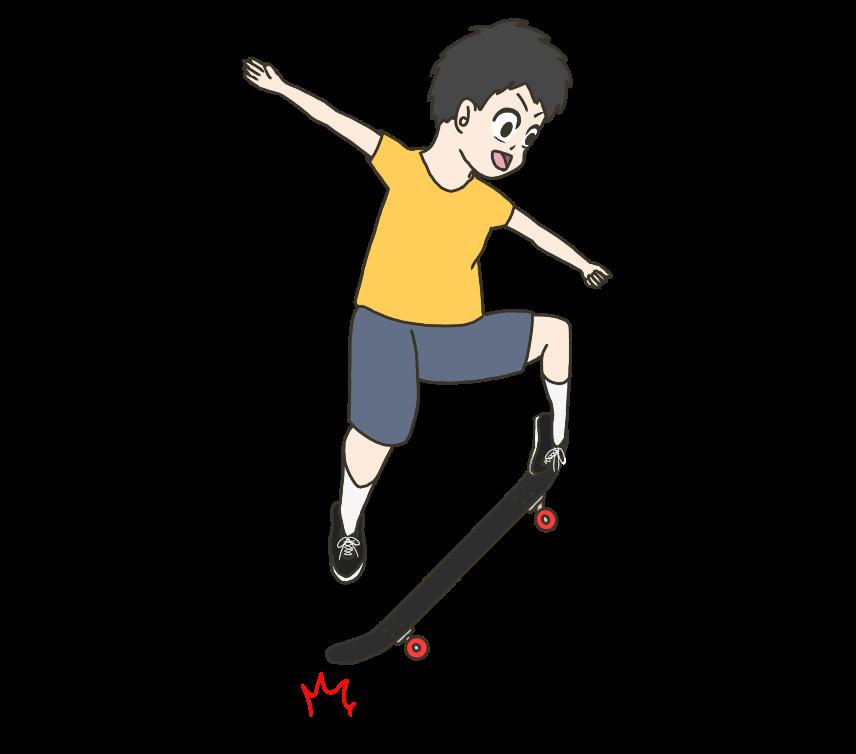 スケボーをする子供(男の子)のイラスト