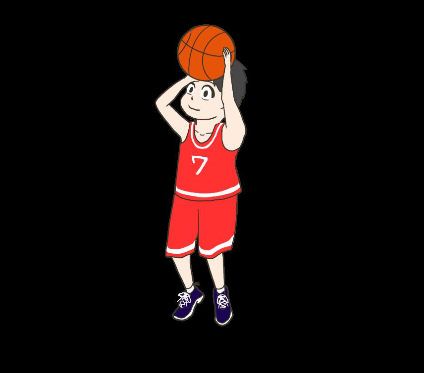 バスケのシュートフォームのイラスト