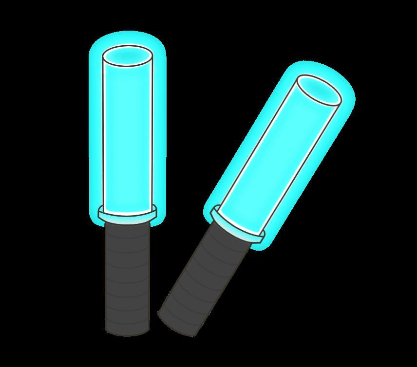 青色のペンライトのイラスト