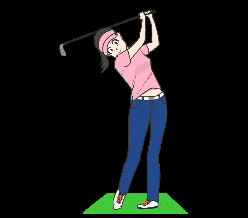 ゴルフスイング(女性)のイラスト