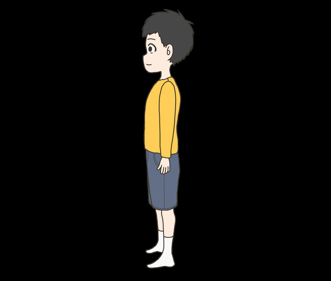 子供の(男の子)横姿のイラスト