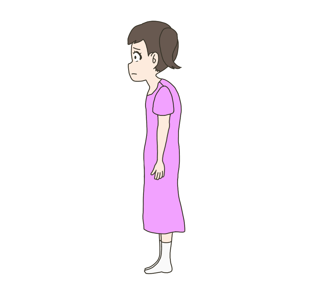 猫背子供(女の子)のイラスト