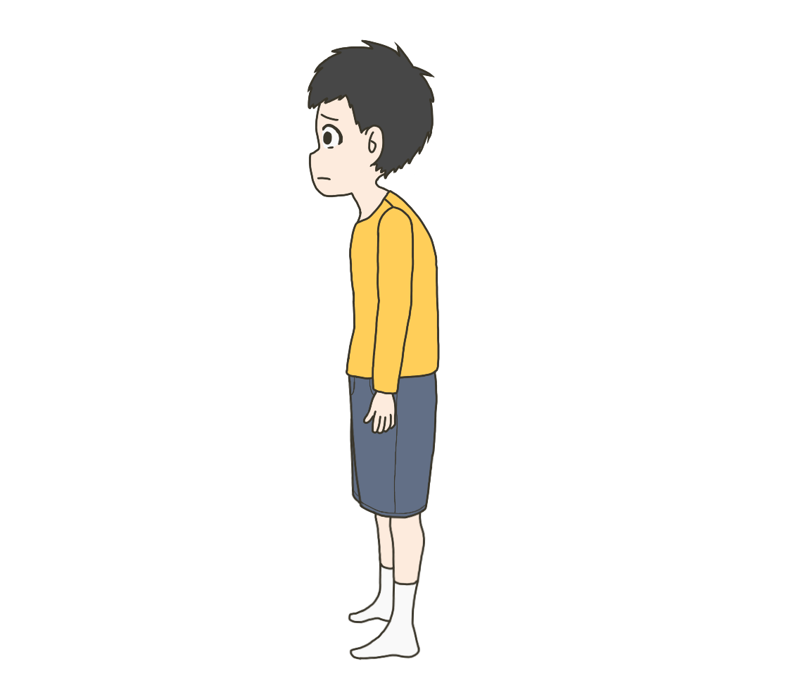 猫背子供(男の子)のイラスト