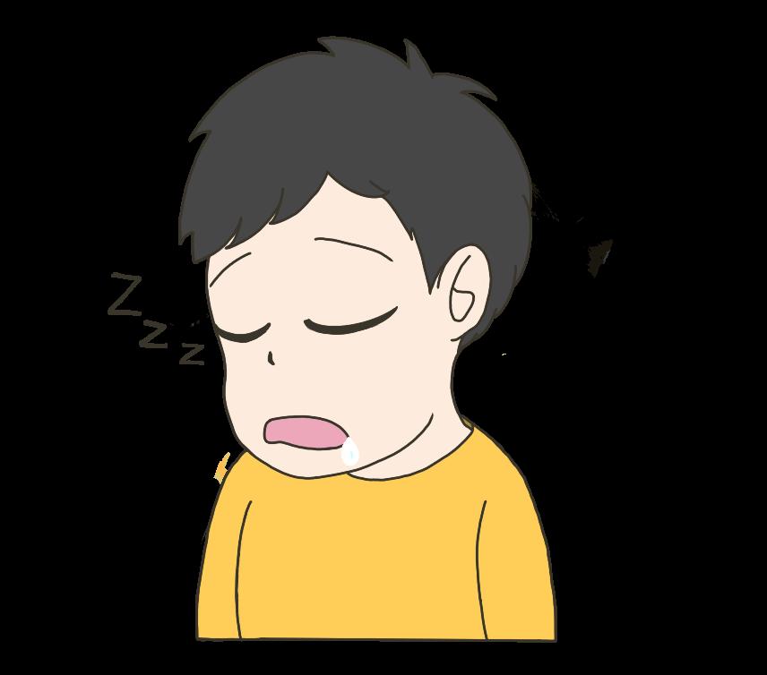 うたた寝をする子供(男の子)のイラスト