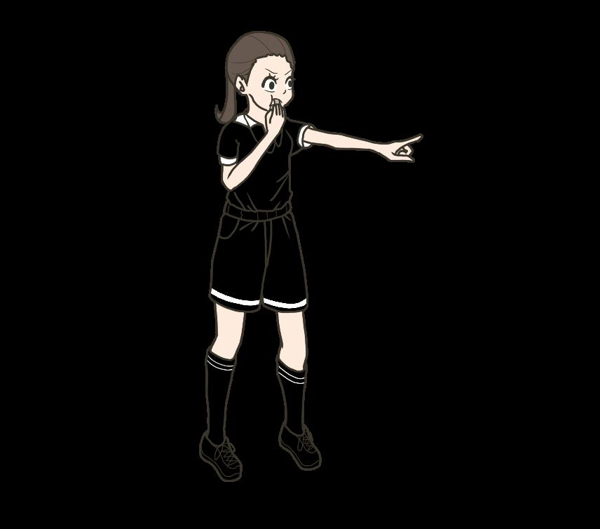 ホイッスルを吹く審判・レフェリー(女性)のイラスト