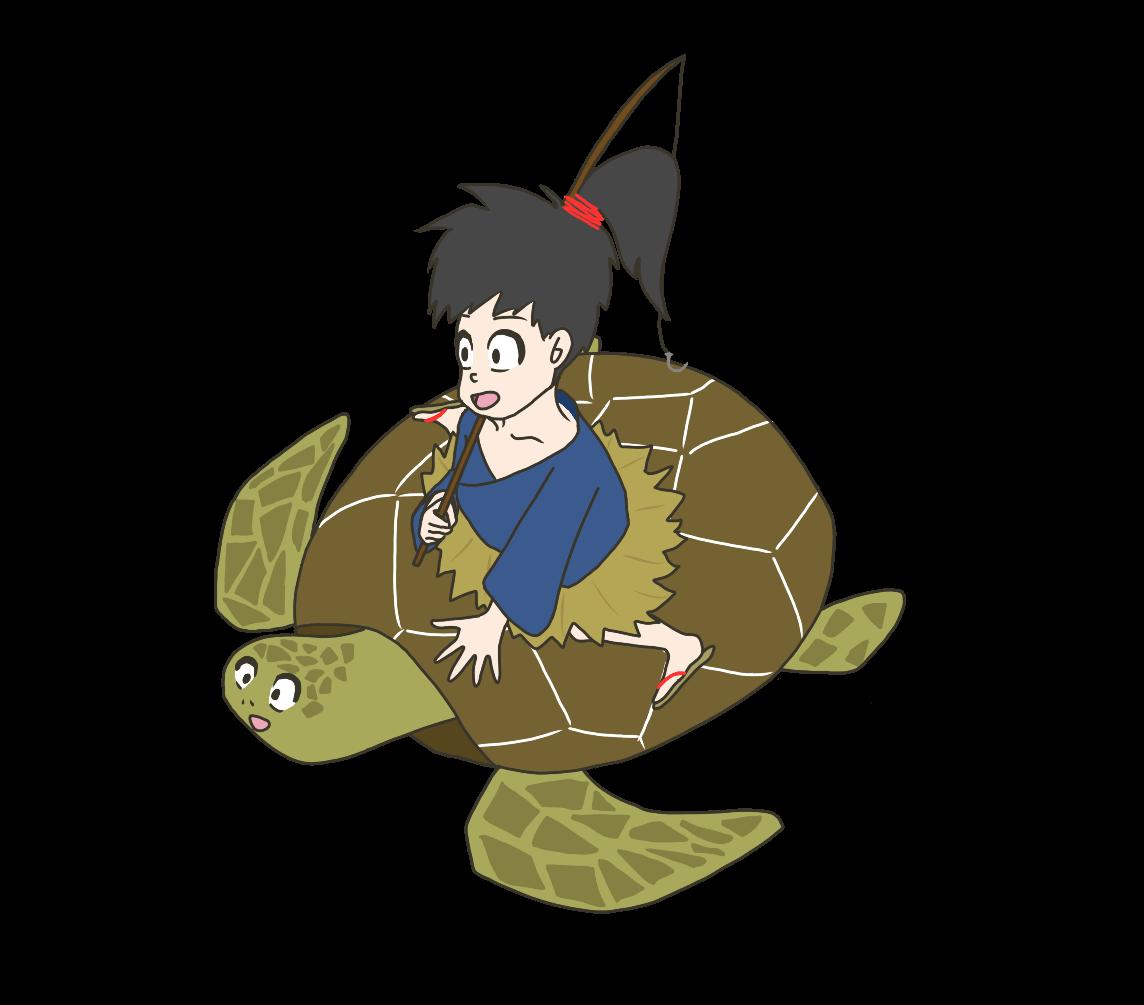 亀に乗った浦島太郎のイラスト