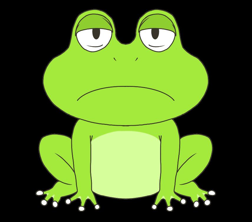 仏頂面の蛙(カエル)のイラスト