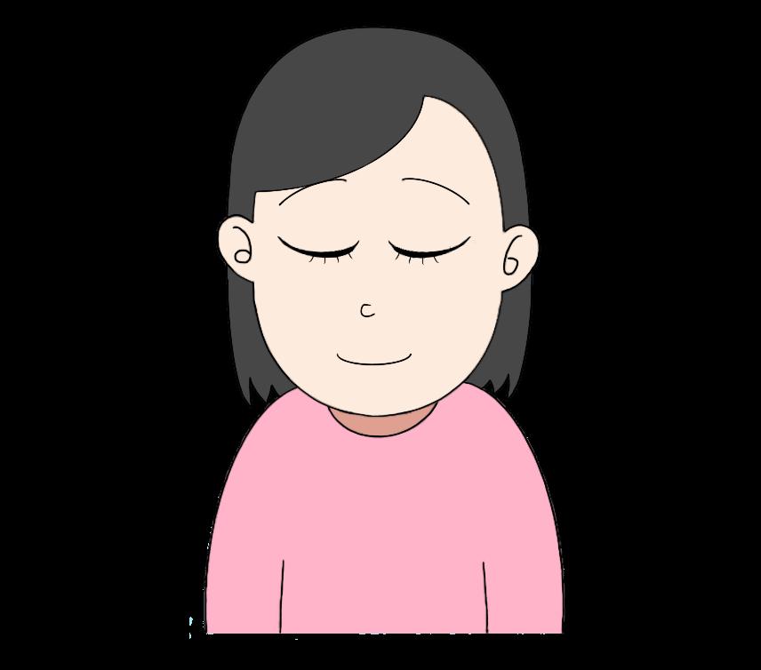 目をつぶる女性のイラスト