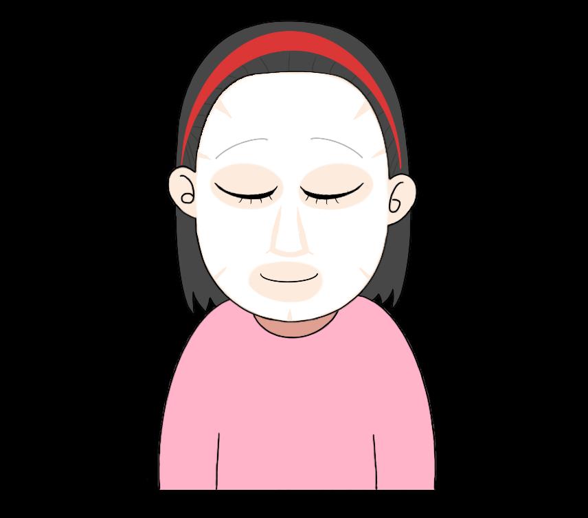 顔パックをする女性のイラスト