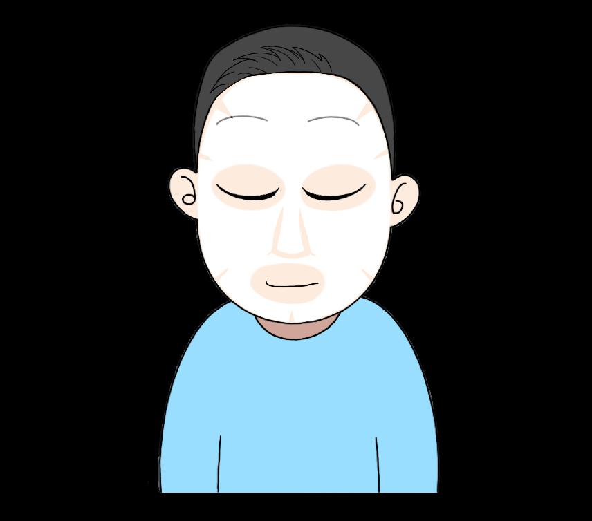 顔パックをする男性のイラスト